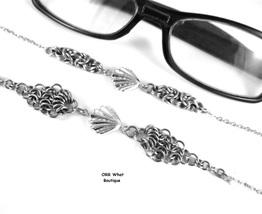 Silver Sea Shells Eyeglasses Beach Chain Necklace Steel Byzantine Maille... - $29.00+