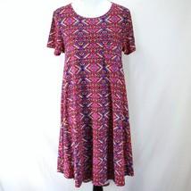 Lularoe Carly Dress Womens M Pink Purple Geometric Print Short Sleeve Knit - $23.99