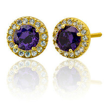 2.39CT Women's Elegant 14K Gold Halo Round Dark Amethyst Stud Earrings  - $42.49