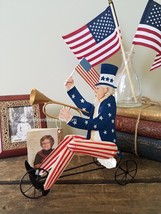 Bethany Lowe Americana Uncle Sam on Trike Tricycle 4th Fourth July Tin T... - €23,09 EUR