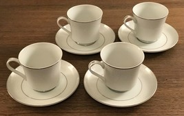 4 CROWN VICTORIA Footed Cup & Saucer Sets  LOVELACE PATTERN Near Mint Co... - $14.52