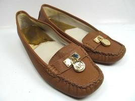 Michael Kors Flats Loafers  MK Goldtone Charm Size 6.5 Color Brown EUC - $31.68