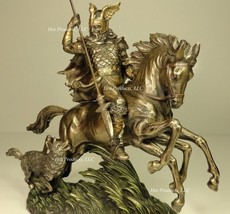 NORSE GOD ODIN RIDING SLEIPNIR the 8 LEGGED HORSE MYTHOLOGY Statue Bronz... - $101.25