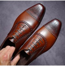 Handmade Men Brown Toe Heart Medallion Dress/Formal Lace Up Oxford Leather Shoes image 3