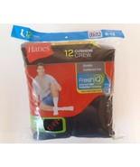 12 PAIR HANES Cushion Crew Socks Mens Shoe Size 6-12 Black Long Athletic  - £15.30 GBP