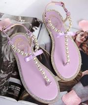 Purple Women Pearls Beach Bridals Flip Flops,Ivory Ladies Beach Wedding ... - £32.10 GBP