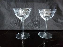 "RARE 2 OPTIC PANEL ETCHED FLORAL GLASSES 6"" CHAMPAGNE SHERBET ELEGANT TI... - $29.69"