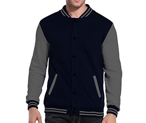 Maximos USA Men's Premium Vintage Baseball Letterman Varsity Jacket (Medium, Nav