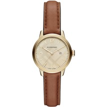 Burberry BU10101 Champagne Check Stamped Gold Dial Ladies Watch - $433.97