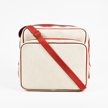 """Hermes Beige & Red Canvas & Leather """"Caleche Express"""" Bag - $2,025.00"""