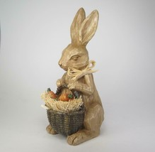 Faux Wood Carved Rabbit Figurine with Basket of Carrots Tabletop Easter Decor - $16.79