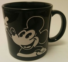 Disney Mickey Mouse Black and White Coffee Mug Cup 3D Etched Art Deco Design - $13.86