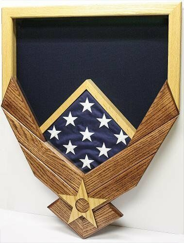 Primary image for AIR FORCE LOGO NATURAL MAHOGANY MILITARY AWARD SHADOW BOX MEDAL DISPLAY CASE
