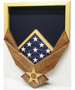 AIR FORCE LOGO NATURAL MAHOGANY MILITARY AWARD SHADOW BOX MEDAL DISPLAY ... - $360.99