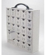 Wood Box Perpetual Advent Calendar Christmas Storage 25 Empty Drawers White - $49.45
