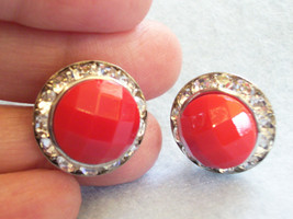 RED Faceted Cab CHANNEL RHINESTONE Frame Earring Silver Plate Screw Back... - $14.84