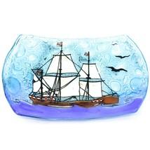 Fused Art Glass Nautical Pirate Galleon Ship Design Soap Dish Handmade Ecuador