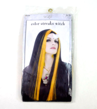 Witch Wig Halloween Costume Long Hair Black Orange Streaks Goth Sorcerer... - $9.89