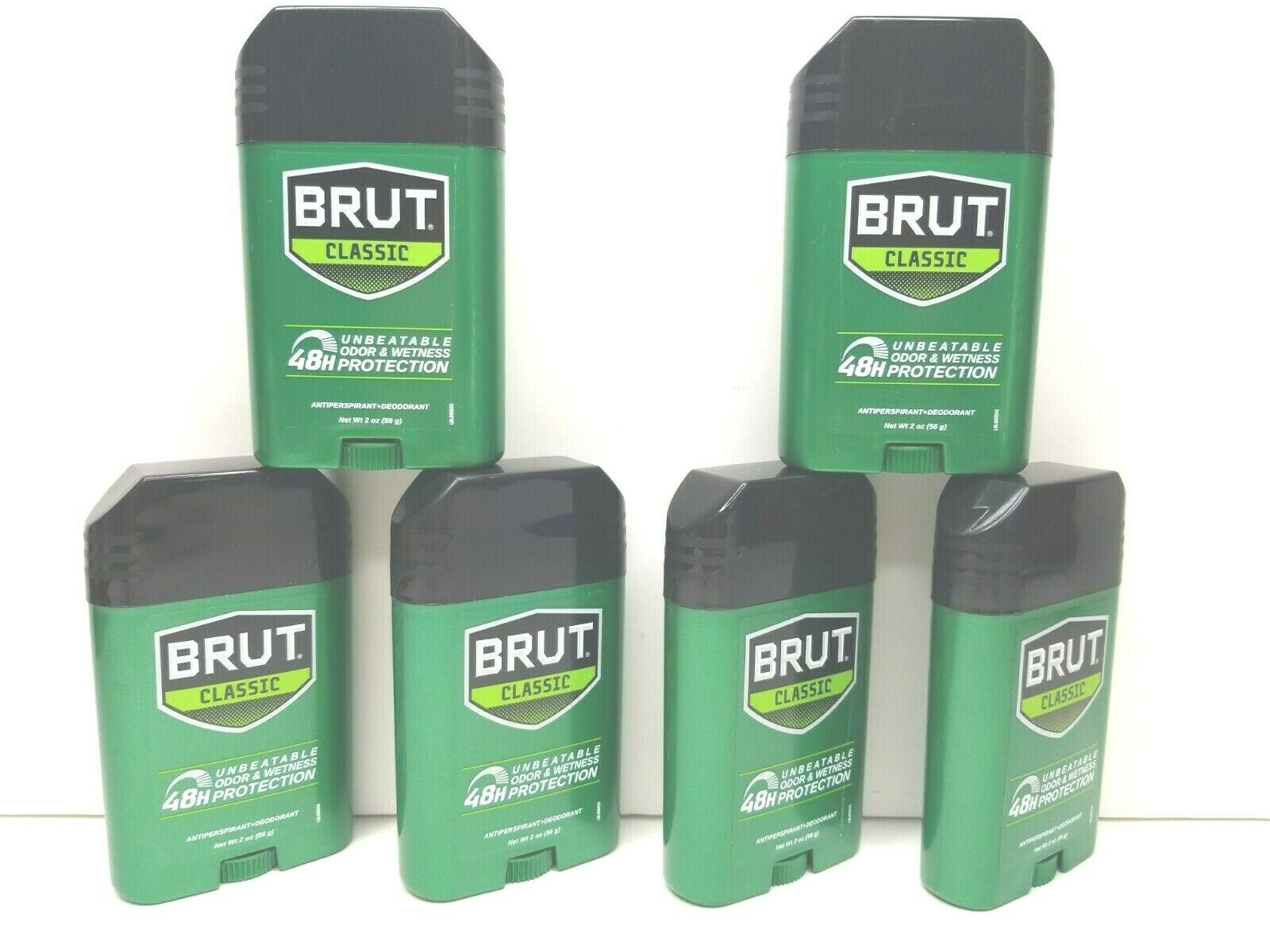 Primary image for 6 BRUT Classic 2 Oz Antiperspirant Deodorant Solid White Odor Stick Exp 8/21 NEW
