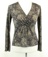 J. Jill Size XS Petite Gray Floral Tissue Knit Empire Top XSP - $16.99