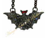Bat Necklace Pendant Gray Crystal Pewter Tone Metal Halloween Holiday Jewelry