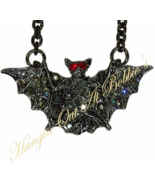 Bat Necklace Pendant Gray Crystal Pewter Tone Metal Halloween Holiday Je... - $19.99