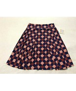 NWT Lularoe Girls 14 Azure Skirt Navy Blue Red White Diamond Plaid - $14.99