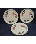 "3 Continental Kilns Green Arbor Pink Magnolia 6.5"" Bread Plates Hand Pai... - $12.95"