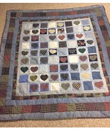 RUSTIC Cabin HANDMADE Campy Heart QUILT Coverlet Denim Flannel PATCHWORK... - $139.32