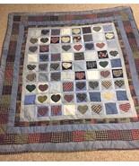 RUSTIC Cabin HANDMADE Campy Heart QUILT Coverlet Denim Flannel PATCHWORK... - $122.27