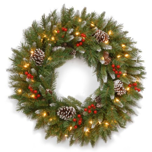 National Tree 30 Inch Frosted Berry Wreath with 100 Clear Lights FRB-30WLO-1