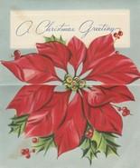 Vintage Christmas Card Poinsettia Pale Blue Top Open 1953 An Artistic Card - $6.92