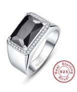 Luxury 6.8ct Black Spinel Male Ring Vintage Genuine 925 silver ring men ... - $39.99
