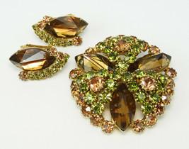 Vintage Hobe Topaz & Olivine Rhinestone Brooch & Earring Set  - Excellent! - $80.00