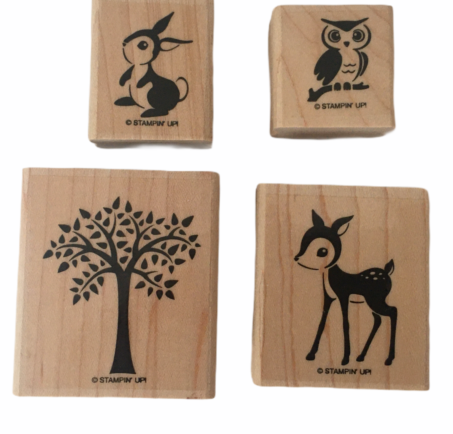 Primary image for Stampin Up Stamp Set 4 Forest Friends Bunny Rabbit Owl Deer Tree Card Making Art