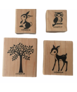 Stampin Up Stamp Set 4 Forest Friends Bunny Rabbit Owl Deer Tree Card Ma... - $14.99