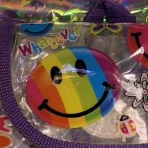GUC VINTAGE Lisa Frank Mini Backpack Smiley Smilies Smile Faces Pattern Neon 90s image 3