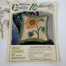 Vintage Bucilla Needlepoint Kit Mosaic Sunflower Burlap Pillow 16 Inch S... - $12.99