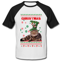 CHRISTMAS CAT - NEW COTTON BASEBALL TSHIRT - $21.51