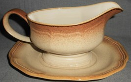 1970s-80s Mikasa WHOLE WHEAT PATTERN Gravy Boat w/ Underplate MADE IN JAPAN - $39.59