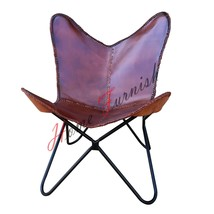Butterfly Cow Leather Armchair Butterfly Chair Brown Leather Butterfly Arm Chair - $207.90
