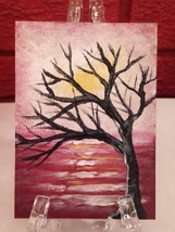 ACEO Original Painting Art November Sun US Arti... - $21.28