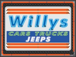 WILLYS CARS TRUCKS JEEPS DEALER STYLE NEON EFFECT PRINT BANNER SIGN ART ... - $53.96