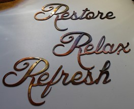 "Relax Refresh Restore 8"" tall  Words Metal Wall Art Accents - $59.39"