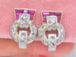 VINTAGE RETRO .75ctw ROSE DIAMOND RUBY 18K PLATINUM CLIP HUGGIE EARRINGS... - $2,325.51