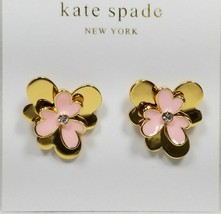 NWT KATE SPADE 12K Pink Gold Plated Blush Pansy Blossom Stud Earrings w/Dust Bag - $20.75