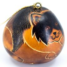 Handcrafted Carved Gourd Art Long Hair Cat Kitten Kitty Ornament Made in Peru image 4