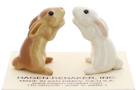 Hagen-Renaker Miniature Ceramic Rabbit Figurine Honey Bunny White and Brown Set image 2