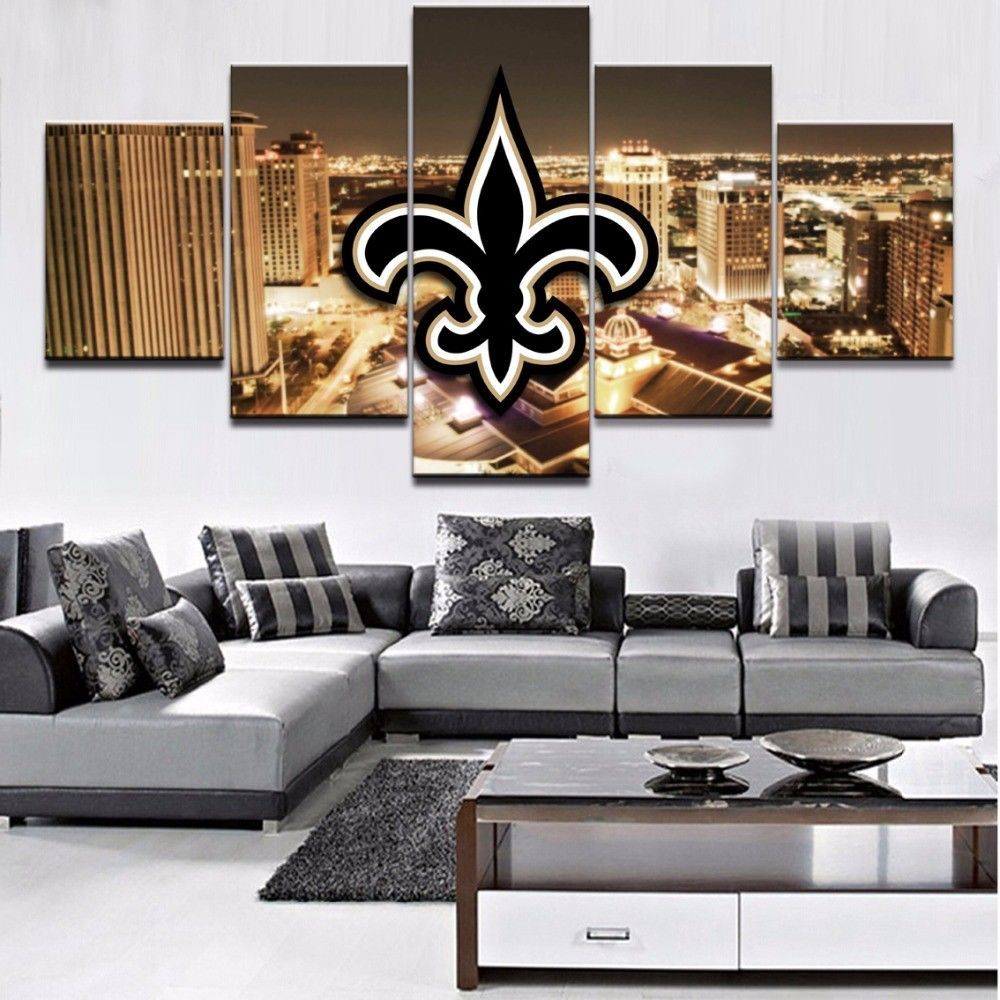 Home Decor New Orleans: Large Framed New Orleans Saints City Football Canvas Print