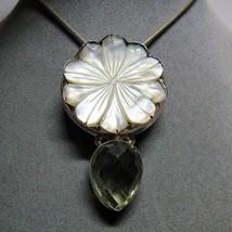 "Large Sterling Silver Mother of Pearl Flower Quartz Stone Pendant 18"" Ne... - $59.40"